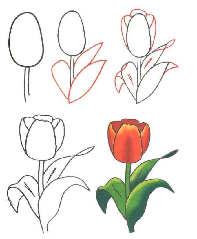 Как нарисовать на открытке цветок 61